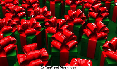 Christmas gift boxes on green background. Loop able 3DCG...