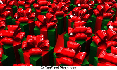 Christmas gift boxes on red background