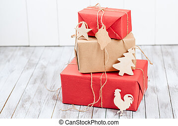 Christmas gift boxes over wooden background. Concept 2017 new year .