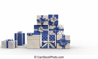 Zoom out of Christmas gift boxes popping up and forming a stack of presents in an abstract christmas tree shape with star on top. Blue version. Animated Christmas Greeting Card. White background.