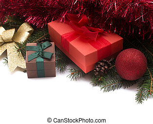 Christmas gift boxes with decorations on white background