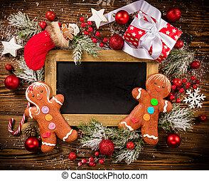 Christmas gift boxes with empty blackboard - Christmas gift...