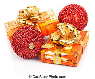 Christmas gift boxes with gold ribbon