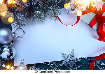 Christmas gift boxes with red ribbons and Christmas tree decoration on a table