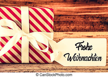 Christmas Gift, Calligraphy Frohe Weihnachten Means Merry Christmas