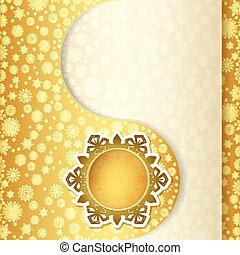 Christmas gift card, snowflake design background.