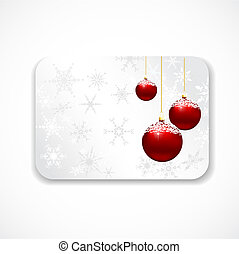 Christmas gift card with snowflakes and baubles