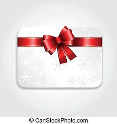 Christmas gift card with a red ribbon