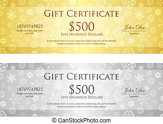 Clipart vector of certificate of appreciation template in vector christmas gift certificate with snowflake pattern in gold and silver color yadclub Gallery