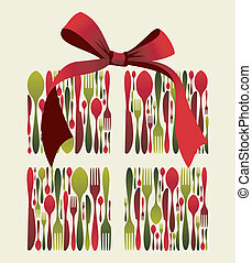 Christmas gift Cutlery. Fork, spoon and knife pattern forming a gift box with a ribbon on top. Usable as invitation card. Vector file available.