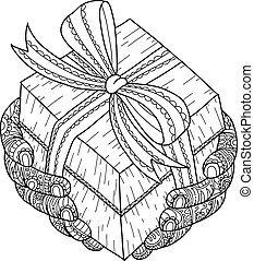 Christmas gift for you. gift and hand zentangle by hand drawing.