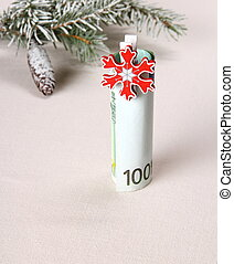 Christmas gift - hundred euro with red snowflake