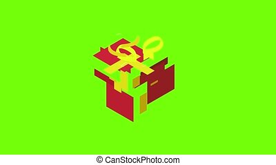 Christmas gift icon animation cartoon object on green screen background