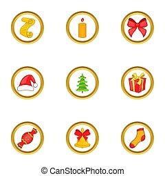 Christmas gift icons set, cartoon style