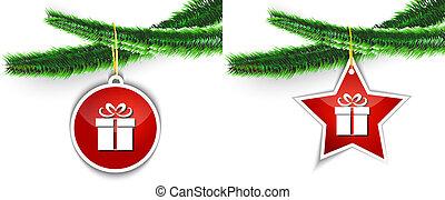 Christmas gift label hanging on tree