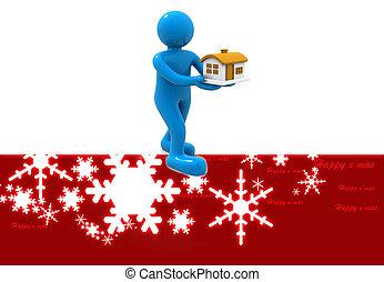 Christmas gift, man with house
