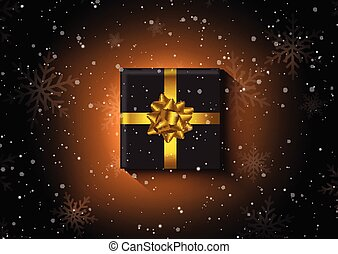 christmas gift on a snowflake background 0412