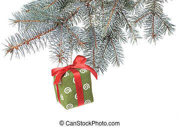 Christmas gift on fir tree branch isolated on white