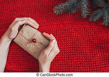 Christmas gift on red background