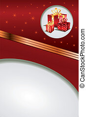 Christmas gift on red background. Illustration