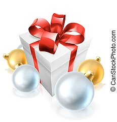 Christmas Gift or Present and Tree Baubles