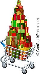 Christmas gift shopping concept