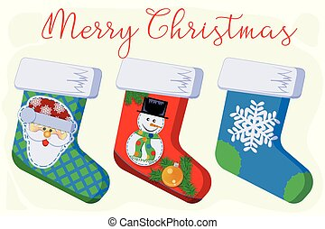 Christmas gift socks with snowflake, snowman and Santa Claus