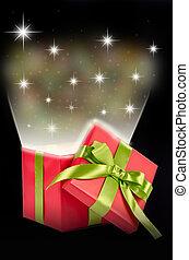 Christmas gift box with light and stars.