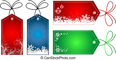 Gift tags with various Christmas designs