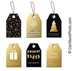Christmas gift tags. Vector gold labels