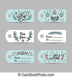 Christmas Gift Tags With Typography. New Year Labels.