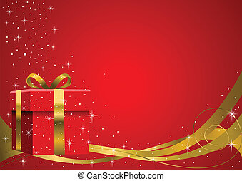 Christmas Gift - Vector illustration of a gift box with...