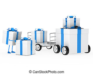 christmas gift vehicle - christmas gift box blue white...