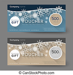 gift voucher - christmas gift voucher with snowflakes, long...