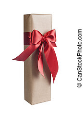 Christmas gift with bow isolated