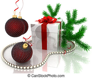christmas gift with branch fir-tree isolated on white background