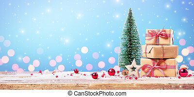Christmas Gift With Ornament On Table