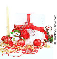 christmas gift with red balls bow