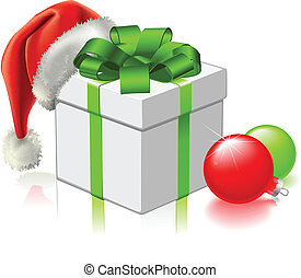 A Christmas gift with Santa hat and baubles