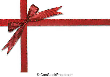 Christmas Gift Wrapped in Pretty Red Bow Isolated on White...