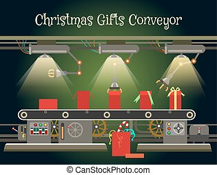 Christmas gift wrapping machine conveyor. Christmas...
