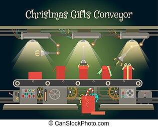 Christmas gift wrapping machine conveyor. Christmas...