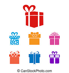 Christmas giftbox icon set vector