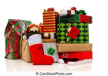 Christmas Gifts - A big stack of decorated Christmas gifts...