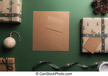 Christmas gifts and a blank brown paper
