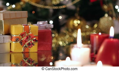 Christmas gifts and candles