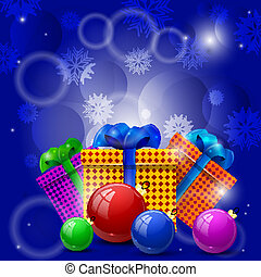 Christmas gifts and Christmas balls on a blue background