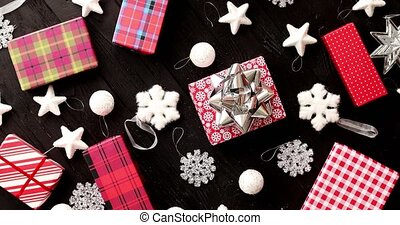 Christmas gifts and decorations - From above view of...