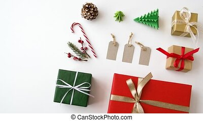 christmas gifts and decorations on white background -...