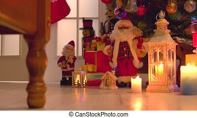 Christmas gifts and decorations on wooden floor. Christmas...